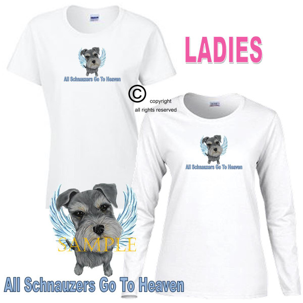 Schnauzer Angel All Dogs Go To Heaven Art By Weeze Ladies White T Shirt (S-3X)