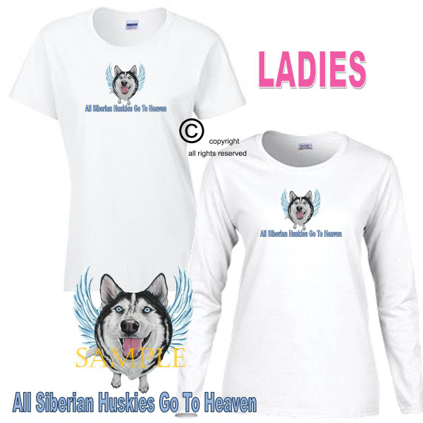 Siberian Husky Angel All Dogs Go To Heaven Art By Weeze Ladies White T Shirt (S-3X)