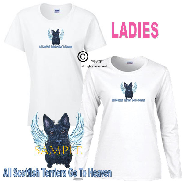 Scottish Terrier Angel All Dogs Go To Heaven Art By Weeze Ladies White T Shirt (S-3X)