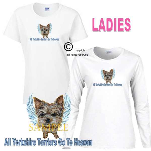 Yorkshire Terrier Angel All Dogs Go To Heaven Art By Weeze Ladies White T Shirt (S-3X)