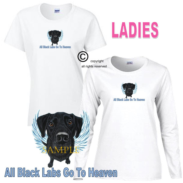 Black Labrador Lab Angel All Dogs Go To Heaven Art By Weeze Ladies White T Shirt (S-3X)