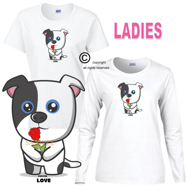 Pupster Dog Cartoon Red Roses Mean Love Ladies White T Shirt