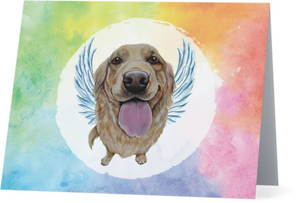 Golden Retriever Dog Art Rainbow Memory Angel Thinking Of You NEW Folded Note Card Set (Packaged In Sets Of 10)