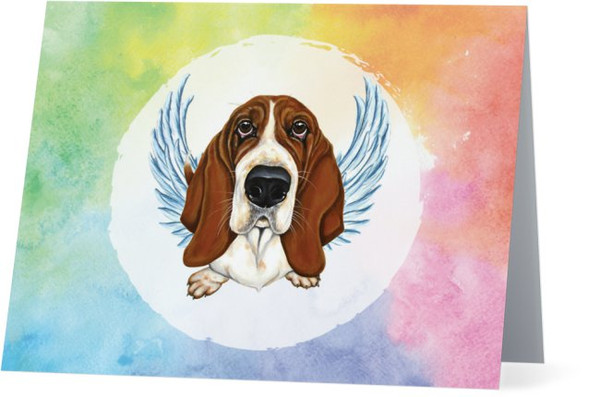 Basset Hound Dog Art Rainbow Memory Angel Thinking Of You NEW Folded Note Card Set (Packaged In Sets Of 10)
