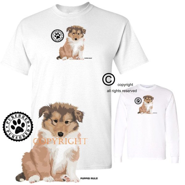 Collie Puppies Rule! Purebred Stamp Graphic Short / Long Sleeve White T Shirt (S-3X)