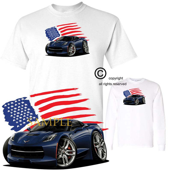 Chevrolet Chevy Corvette C7 Night Race Blue USA American Flag Exclusive Graphic Art T Shirt (S-3X)