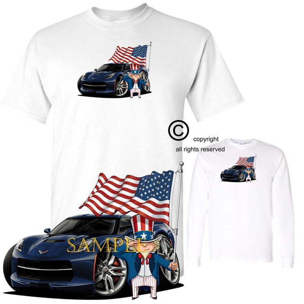 Chevrolet Chevy Corvette C7 Night Race Blue Uncle Sam USA American Flag Exclusive Graphic Art T Shirt (S-3X)