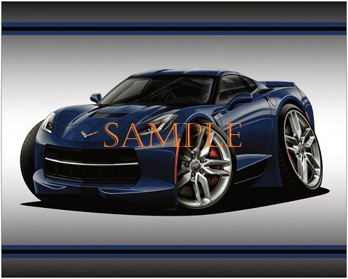 Chevrolet Chevy C7 Corvette Night Race Blue Edition Graphic Art 20X16 Matte Poster .. Ready To Hang