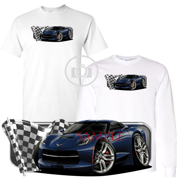 Chevrolet Chevy Corvette C7 Night Race Blue Racing Flag Icon Exclusive Graphic Art T Shirt (S-3X)