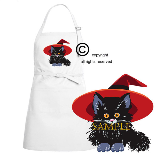 Black Cat Kitten Cute Magical Good Witch Magic OSFA Full Front Kitchen Chef Apron
