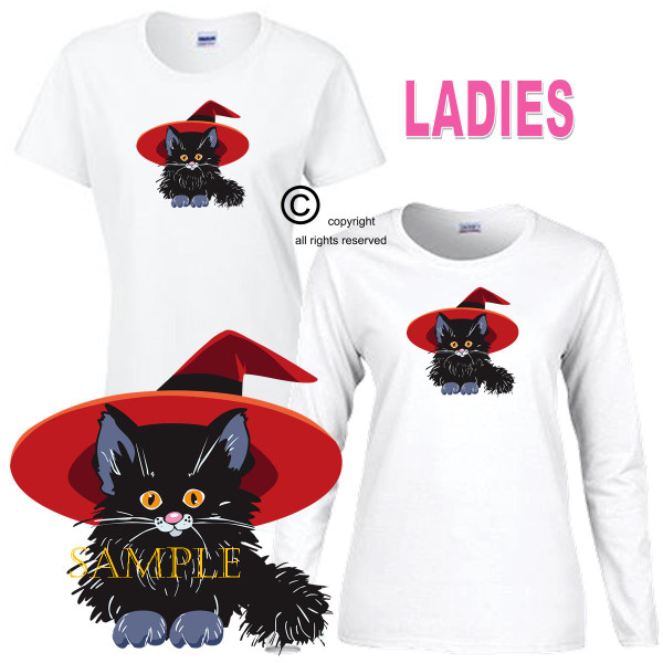 Black Cat Kitten Cute Magical Good Witch Magic Ladies White T Shirt S-3X
