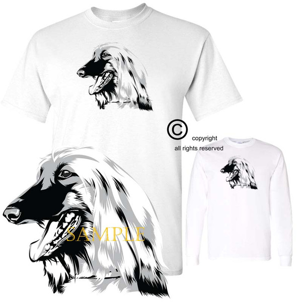 Afghan Hound Dog Breed Monochrome Black And White Portrait Graphic White T Shirt (S-3X)