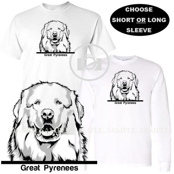 Great Pyrenees Dog Breed Monochrome Black And White Portrait Graphic White T Shirt (S-3X)