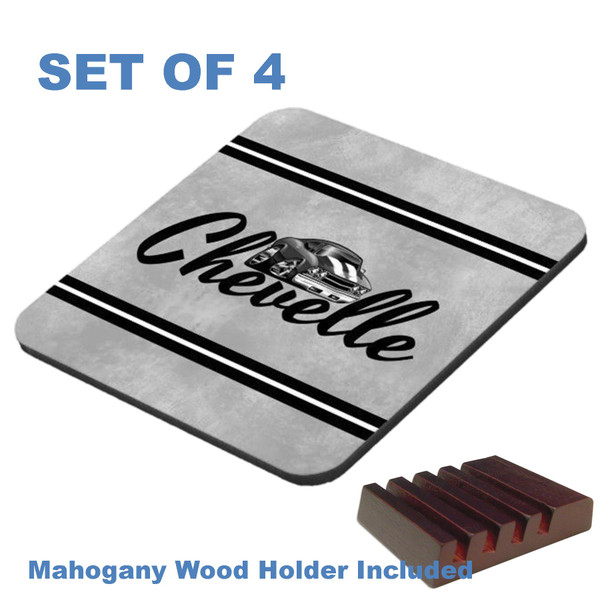 Chevrolet Chevy Chevelle Black Script On Gray Graphic Art 4 Gloss / Cork Coasters Set With Wood Holder