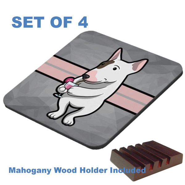 Bull Terrier Dog Breed Cocktail Drinking Cartoon Graphic Art 4 Gloss / Cork Coasters Set With Wood Holder