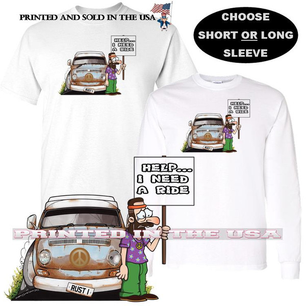VW Vintage Rusty Camper Bus Broken Down .. I Need A Ride Funny Graphic Car Art T Shirt (S-3X)