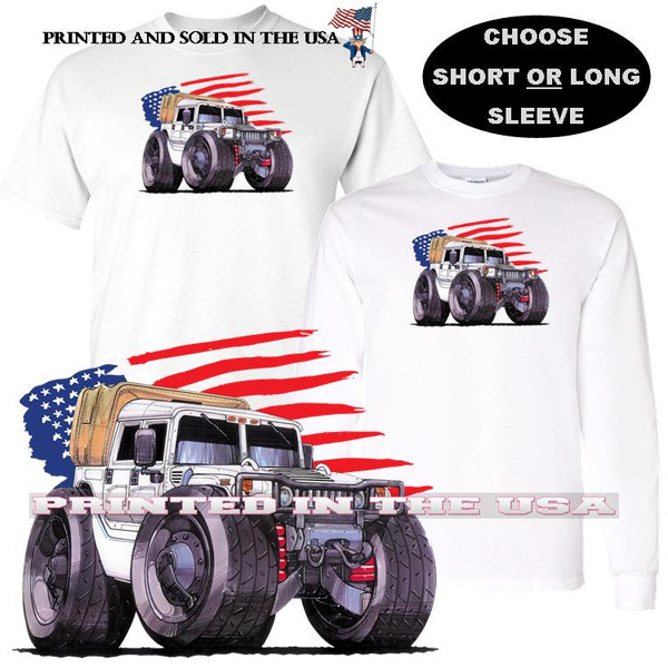 Hummer Humvee Army Military Transport Vehicle USA Flag Background Koolart Car Cartoon Graphic Art T Shirt