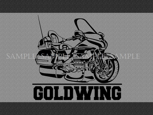Honda Goldwing Touring Motorcycle Model Black Outline Graphic Garage / Welcome Home Doormat  Door Mat Floor Rug