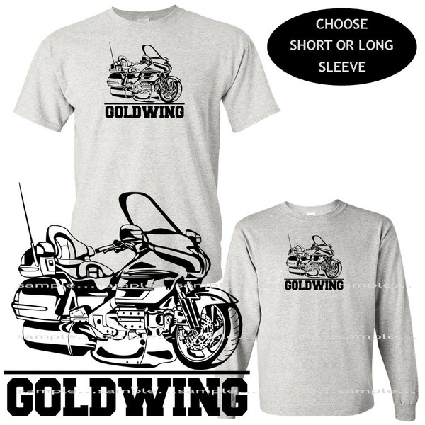 Honda Goldwing Touring Motorcycle Model Black Outline Graphic Art Gray T Shirt (S-3X)