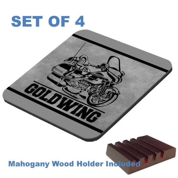 Honda Goldwing Touring Motorcycle Black On Gray Graphic Art 4 Gloss / Cork Coasters Set With Wood Holder