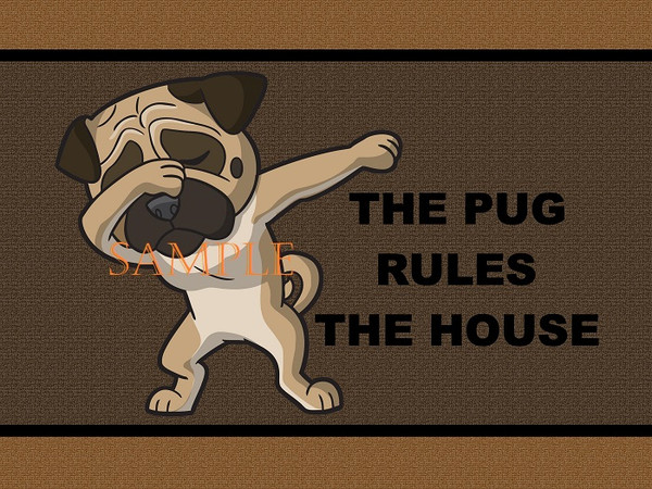 Pug Dog Breed Rules The House Dabbing Dancing Cartoon Welcome 18x24 Welcome Home Garage Doormat Door Mat Floor Rug