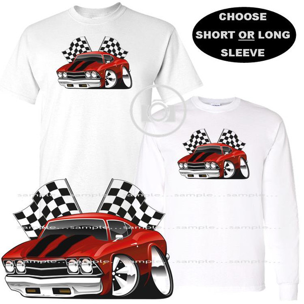 (CHE) Chevelle Red & Black Winners Circle Racing Flags Exclusive Graphic Art T Shirt (S-3X)
