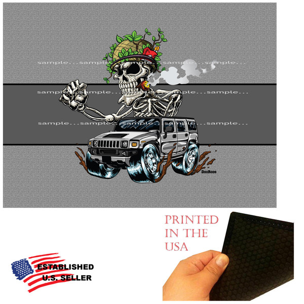 DigiRods Military Bones Soldier Skeleton Machine Hummer Army Vehicle Cartoon Graphic Art Garage / Welcome Home Doormat Door Mat Floor Rug