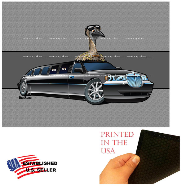 DigiRods Limo Emu Bird Chauffeur Limousine Ride Cartoon Graphic Art Garage / Welcome Home Doormat Door Mat Floor Rug