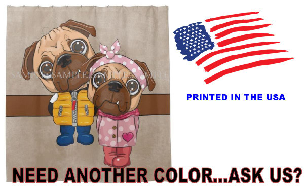Pug Dog Breed Cute Cartoon Couple Brown Fabric Standard Bathroom Size Shower Curtain