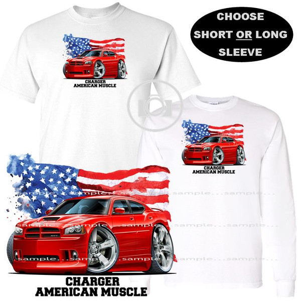 Dodge Charger SRT V8 Model Red American Muscle USA Flag Graphic Art T Shirt (S-3X)