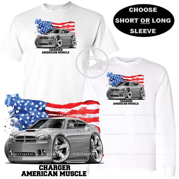 Dodge Charger SRT V8 Model Silver American Muscle USA Flag Graphic Art T Shirt (S-3X)