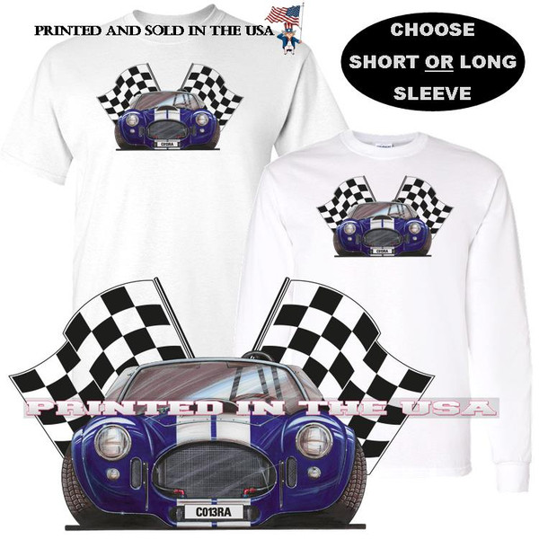 (ACC) AC Shelby Cobra Blue White Rare Model Racing Flags Koolart Car Cartoon T Shirt