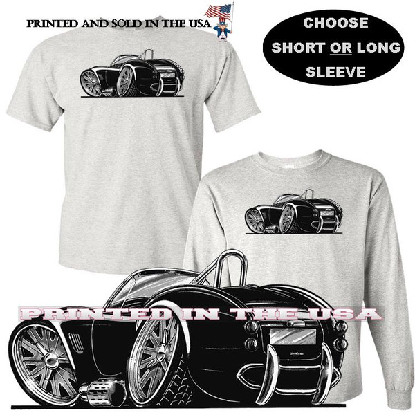(ACC) AC Shelby Cobra Black Poster Sketch Koolart Cartoon Car Graphic Art Gray T Shirt