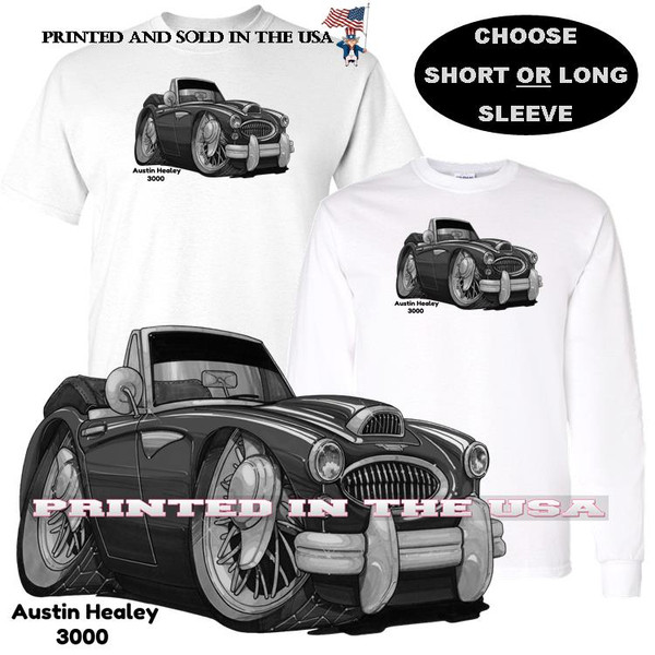 (AUS) Austin Healey Vintage Classic 3000 Black & White Koolart Cartoon Car Graphic T Shirt