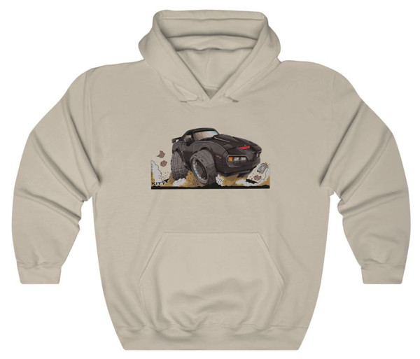 Knight Rider TV Series Kitt Car Pontiac Firebird Koolart Car Caricature Cartoon Graphic Art Hoodie Sweatshirt (S-3X)