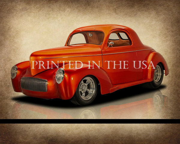 "Willys American Coupe 1940's Model 1940 Vintage Orange Car Graphic Art Print 16""X20"" Glossy Poster... Ready To Hang"