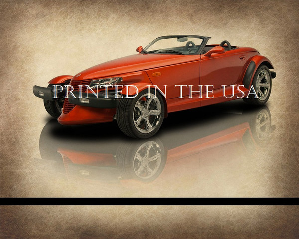 """Chrysler Plymouth Prowler Orange 2001 Model Classic Car Graphic Art Print 16""""X20"""" Glossy Poster... Ready To Hang"""