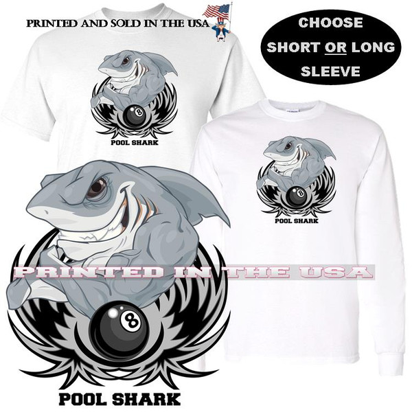 Pool Shark Great White Muscles Eight Ball Billiards ( Gray ) Cartoon Graphic Art T Shirt