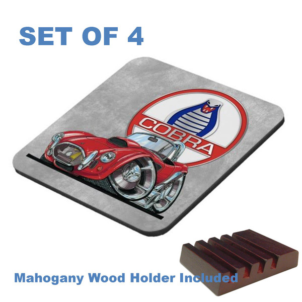 (ACC) AC Shelby Cobra Rare Vintage Red Koolart Car Cartoon Art 4 Gloss / Cork Coasters Set With Wood Holder