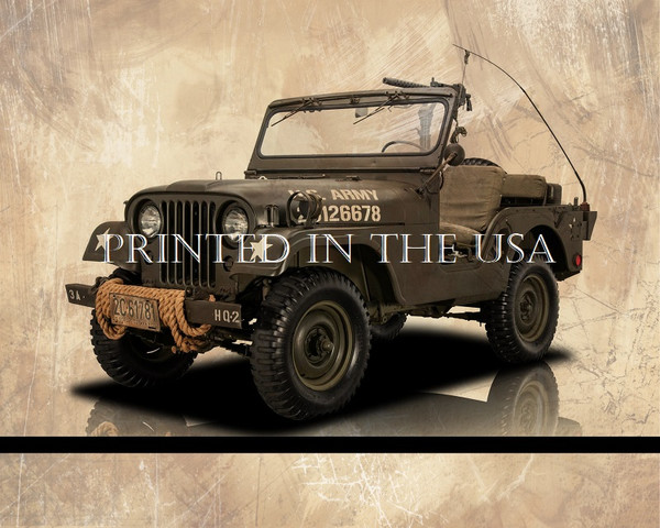 "Willys Military Jeep Vehicle 1953 Vintage Army Model Car Graphic Art Print 16""X20"" Glossy Poster... Ready To Hang"