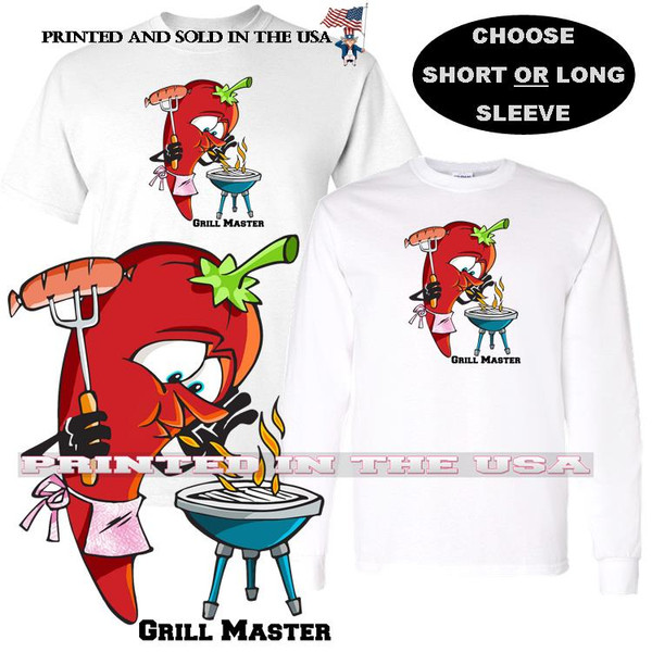Red Hot Chili Pepper Barbecue Grill Master Cartoon Graphic Art T Shirt