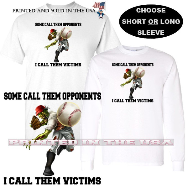 Baseball Player Zombie Cartoon #2 Victims Not Opponents Graphic Art T Shirt