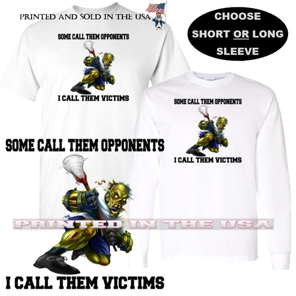 Lacrosse Player Zombie Cartoon Victims Not Opponents Graphic Art T Shirt