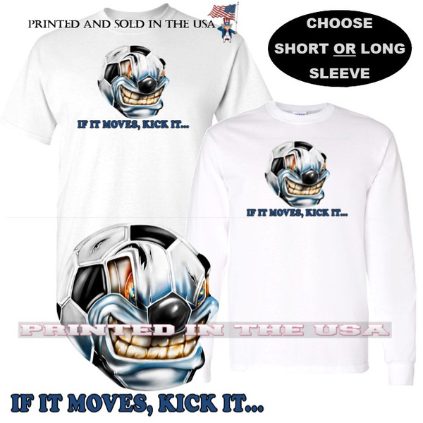 Soccer Ball Angry If It Moves ... Kick It Cartoon Graphic Art T Shirt