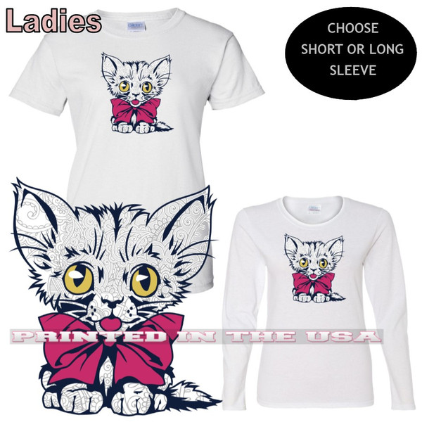Kitten Cute Abstract Cat Festive Bow Tie Graphic Art Ladies White T Shirt