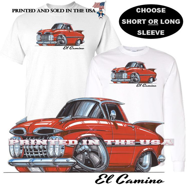 (CHE) El Camino Vintage 1959 Red Koolart Cartoon Car Graphic T Shirt
