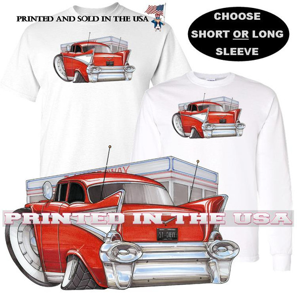 (CHE) Bel Air Red Diner Scene Koolart Cartoon Car Graphic T Shirt