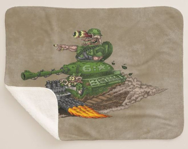 Military Monster Tank Hot Rod Army Soldier Rat Rod Cartoon Car Art Brown Sherpa Fleece  Collectible Throw Blanket