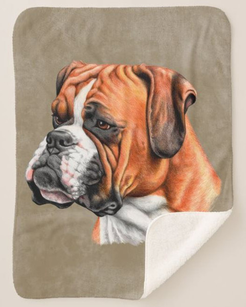 Boxer Dog Breed Artistic Profile Graphic Art Brown Sherpa Fleece Collectible Throw Blanket