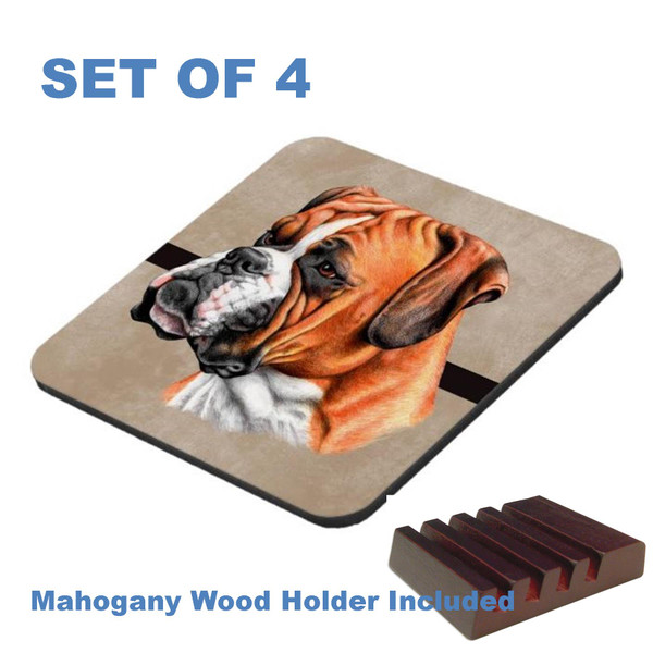 Boxer Dog Breed Artistic Profile Graphic Art 4 Gloss / Cork Coasters Set With Wood Holder
